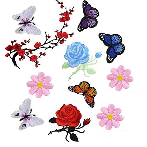 Buytra 11 Pieces Flowers Butterfly Iron on Sew on Patches... amazon.com