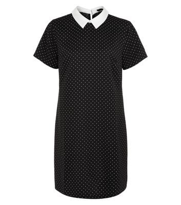 New Look: Black Contrast Collar Pin Dot Tunic Dress