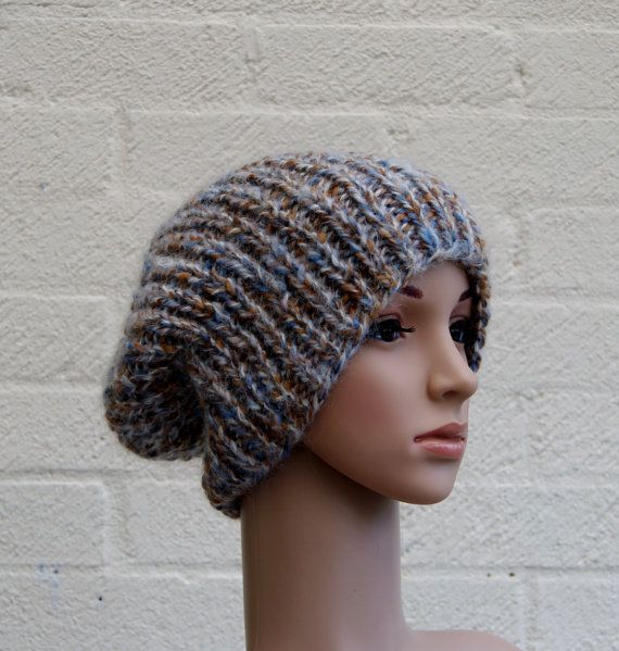 Extra large Knitted Slouchy Beanie hat Oversized by StripesnCables, £32.00