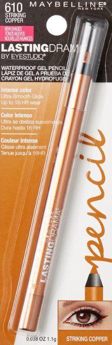 Amazon.com : Maybelline New York Eyestudio Lasting Drama Waterproof Gel Pencil, Striking Copper, 0.037 Ounce : Beauty