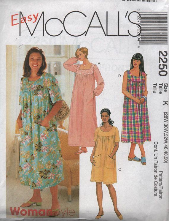 Mccalls Housedress Mumu Dress Pattern 2250 Plus Sized