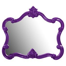 """Pairing classical design with contemporary color, this eye-catching wall mirror showcases an ornately scrolling frame and glossy purple finish.    Product: Wall mirrorConstruction Material: Resin and mirrored glassColor: PurpleDimensions: 28"""" H x 32"""" W x 2"""" D"""