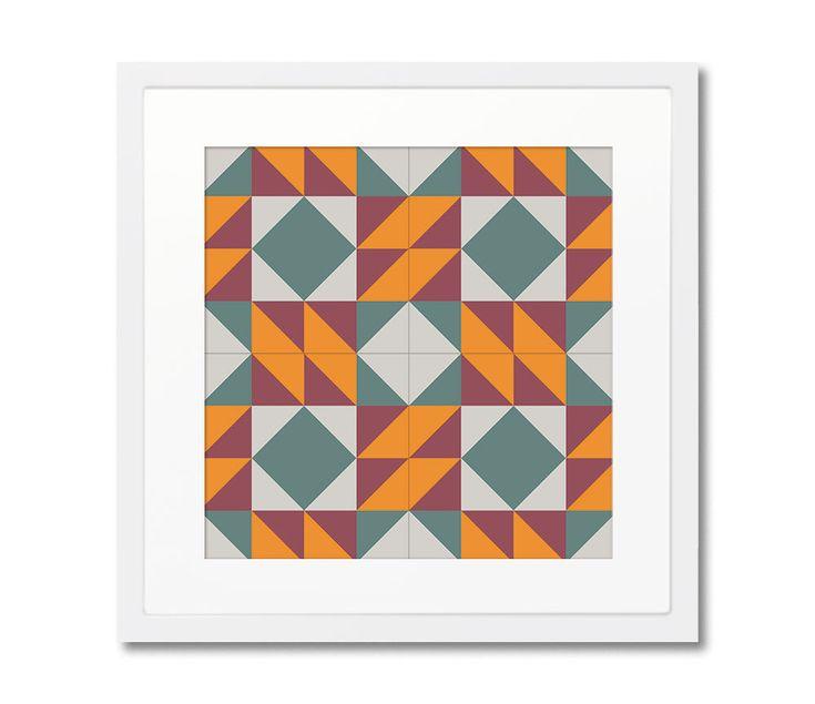 Geometric Print With Wooden Frame, Barcelona Design, Modernist Tiles, Wall Decoration, Home Decorating, Framed Print by Macrografiks on Etsy