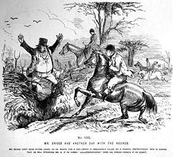 """Punch magazine's """"Mr. Briggs"""" cartoons illustrated issues over fox hunting during the 1850s."""