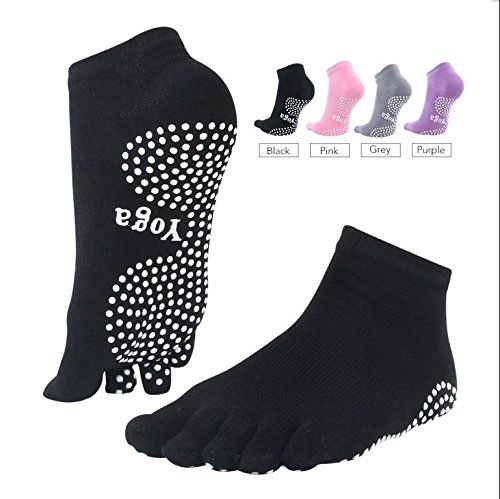 HUI Non Slip Grippy Yoga Socks with Toes for Men's and Women's Pilates, Barre and Bikram Hot Yoga Socks with Grips Anti Slip Black Grey Purple Pink (Black). Non Slid Yoga Socks With Great Stability. The spot on fit of yoga socks with toes creates room for balance and proper adjustment during yoga sessions. The yoga socks with toes have room for wiggling your toes and separating to give a firm stance. The non skid grip also gives better stability as it flows from heel to toe and gives you...