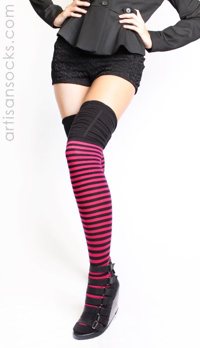 Pink and Black Striped Thigh High Socks with Ruched Top by K. Bell