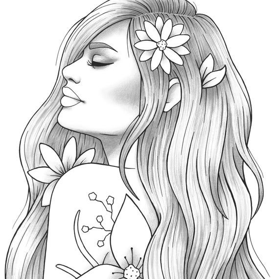 Printable Coloring Page Girl Portrait And Clothes Colouring Etsy People Coloring Pages Coloring Pages Outline Drawings