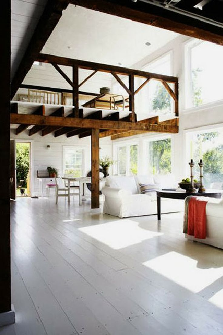 Open Loft Living Area One Side, Closed Bedroom Other Side? I Like The Open  Beams, But I Wonder If They Only Look So Good Because Of The Extreme White  ...