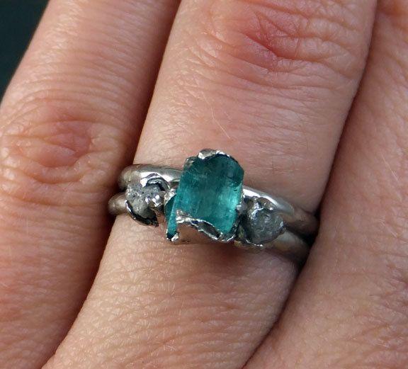 Raw Aqua Tourmaline Diamond 14k white Gold Engagement Ring