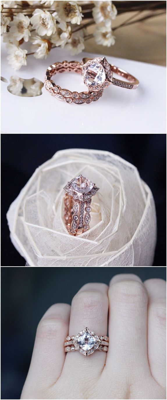 Vintage Cushion Morganite Ring Set Solid 14K Rose Gold Morganite Engagement Ring Set / http://www.deerpearlflowers.com/rose-gold-engagement-rings/