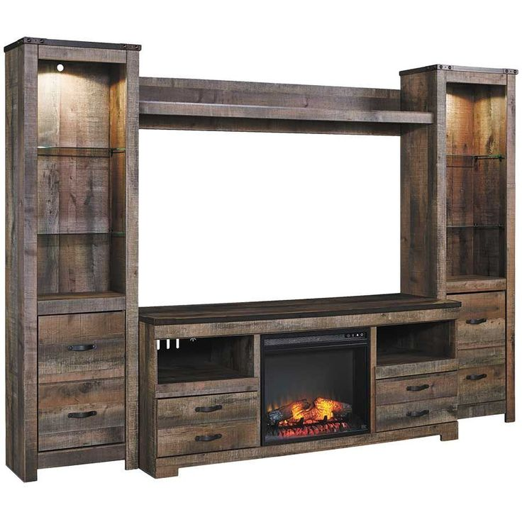 Signature Design By Ashley Furniture Trinell Large TV Stand W/ Fireplace,  Piers, U0026 Bridge   Item Number: