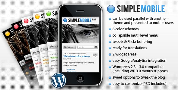 Simple Mobile is a WordPress theme designed for mobile devices, especially iPhone.It can be used parallel with another theme and presented to mobile users only (read FAQ ).Or you can use it traditional way – present it both to desktop computers and mobile devices users.
