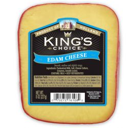 King's Choice® Edam is a semi-firm, mild, pale yellow cheese coated in a red wax rind. Similar to Gouda, Edam's slightly salty, nutty flavor stands out when paired with fresh fruits and crackers. King's Choice® Edam cheese is a fantastic choice to serve at a party or give as a gift.
