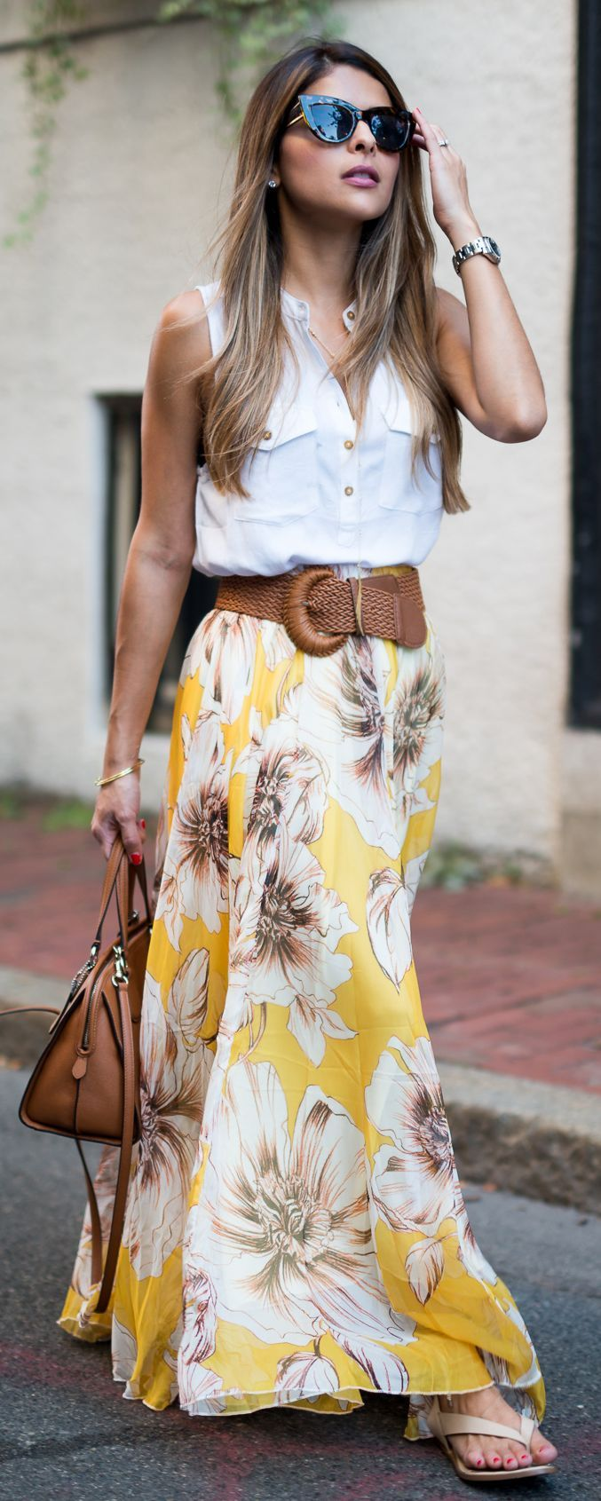 Floral Maxi Skirt Outfit Idea by The Girl From Panama