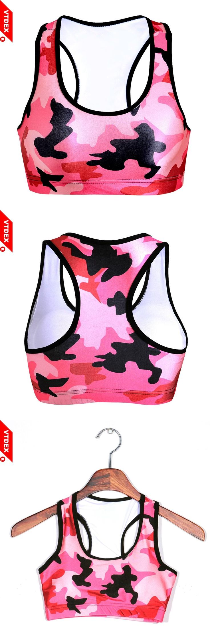 [Visit to Buy] VTDEX 2017 Fitness Bras Women Soutien Gorge Padded Push Up Bra 3d Camouflage Sports Gym Wirefree Shakeproof Seamless Workout Top #Advertisement