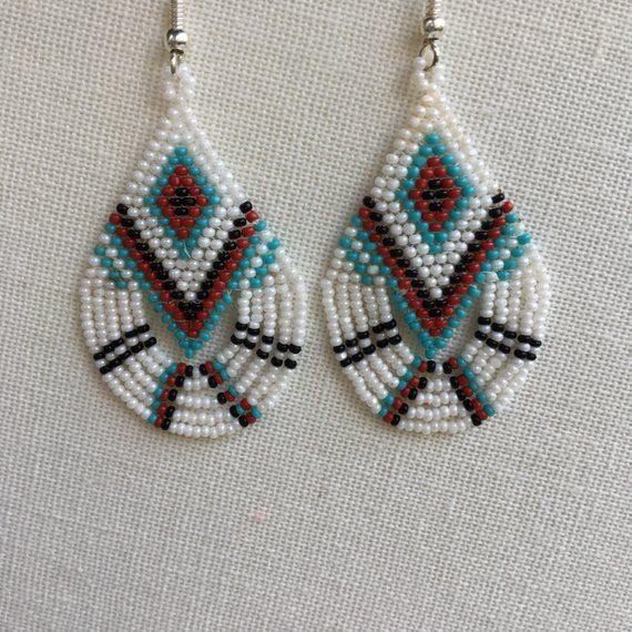 Native American Style Brick Sch Beaded Teardrop Fringe