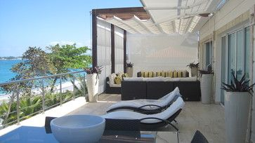 Modern Home Outdoor Canvas Awning Privacy Screen Design Ideas, Pictures, Remodel, and Decor - page 6
