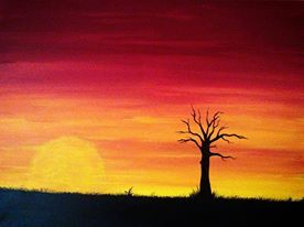 The rich colours of the Aboriginal flag come to life in this beautiful Sunset painting.  http://artfuly.com/artists/dreamonaboriginalarts/sunset