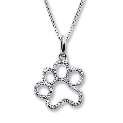 Paw Print Necklace 1/15 ct tw Diamonds Sterling Silver