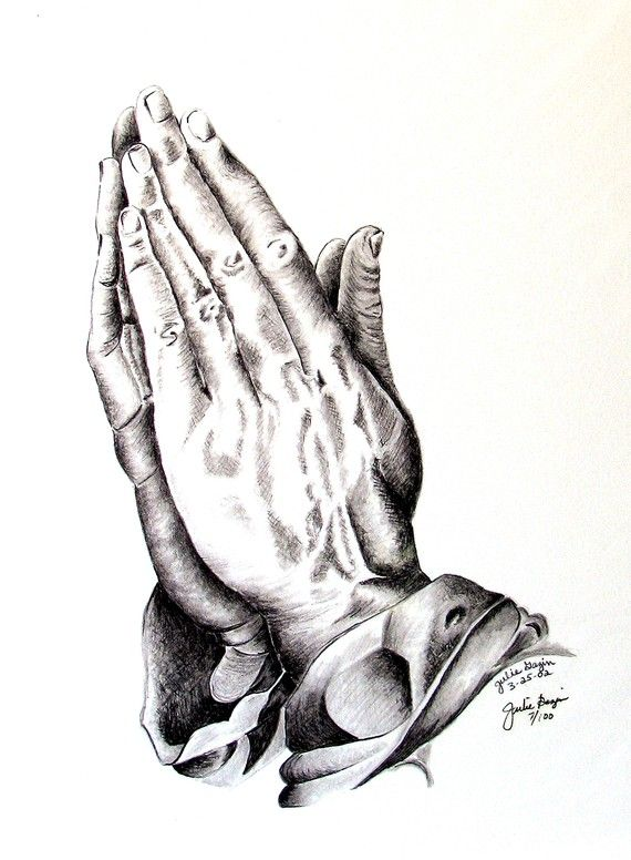 Praying Hands Giclee Print  Cancer Survivor by natureinpastels