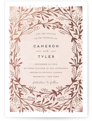 Le Feuillage Foil-Pressed Wedding Invitations #rusticweddings #rusticweddinginvitations #rusticweddinginspiration