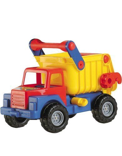 """Wader Giant Dump Truck by Wader. $147.90. From the Manufacturer                Give your child this """"ultimate dump truck"""". Simply release the safety latch and back door latch to dump your load. This great toy can be used as a ride on toy and can support the weight of two grown adults.                                    Product Description                Give your child this """"ultimate dump truck"""". Simply release the safety latch and back door latch to dump your load. This grea..."""