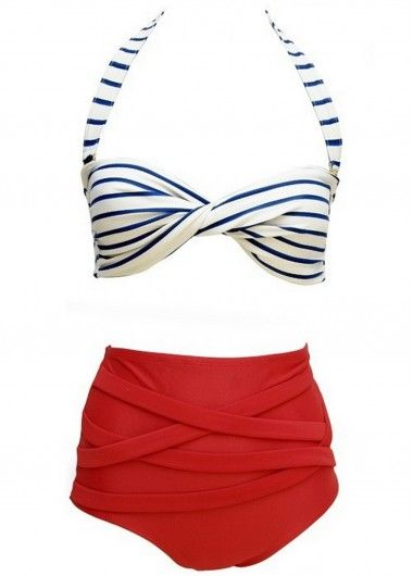 $20.39 Retro Rockabilly Stripe Halter Twist High Waist Bikini Set