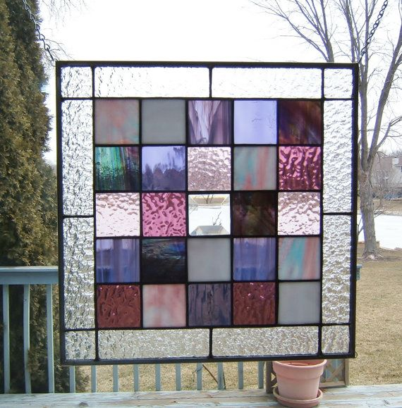Purple squared stained glass panel window geometric abstract stained glass window panel modern window hanging suncatcher PS1
