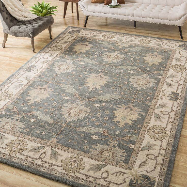 Nourison hand tufted caspian blue wool rug 8 39 x 10 39 6 by for Dining room rugs 8 x 10