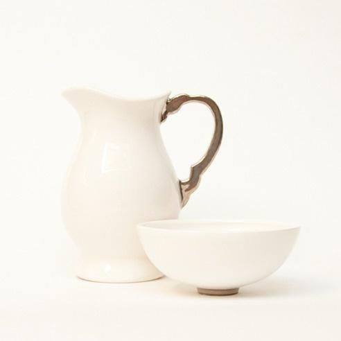 Image of Milk Jug & Little sugar bowl - platinum lustre
