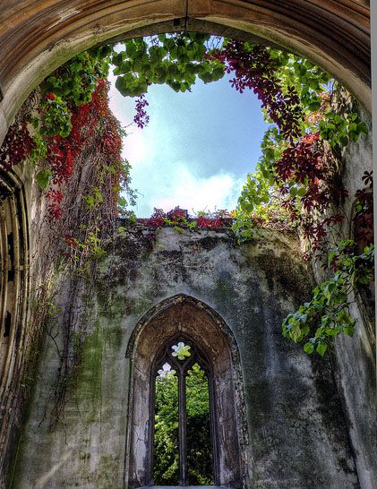 St Dunstan in the East Church, London.  Bombed during WWII the ruins are now part of a public park.