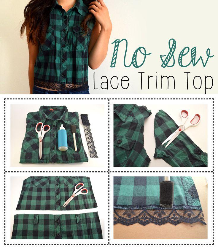 Diy lace trim plaid top ehow diy clothes refashion