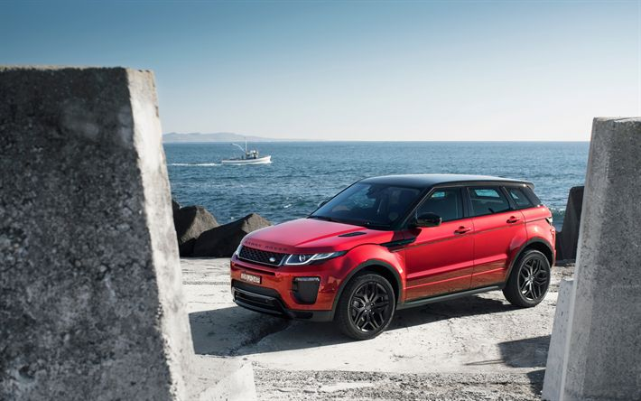 Download wallpapers Land Rover, Range Rover Evoque, SUV, red Evoque, English cars
