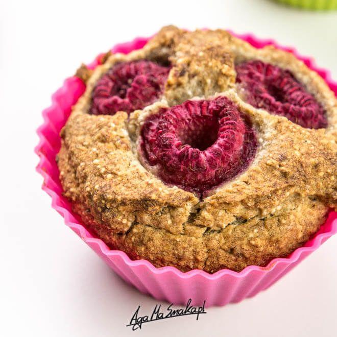 zdrowe muffiny z kaszy gryczanej z malinami prosty przepis