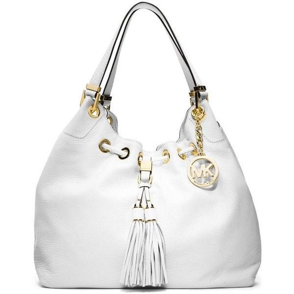 Michael Kors White Leather Camden Large Optic Drawstring Tote Shoulder... ($10) ❤ liked on Polyvore featuring bags, handbags, tote bags, leather purses, white leather handbags, genuine leather tote, leather shoulder handbags and handbags totes