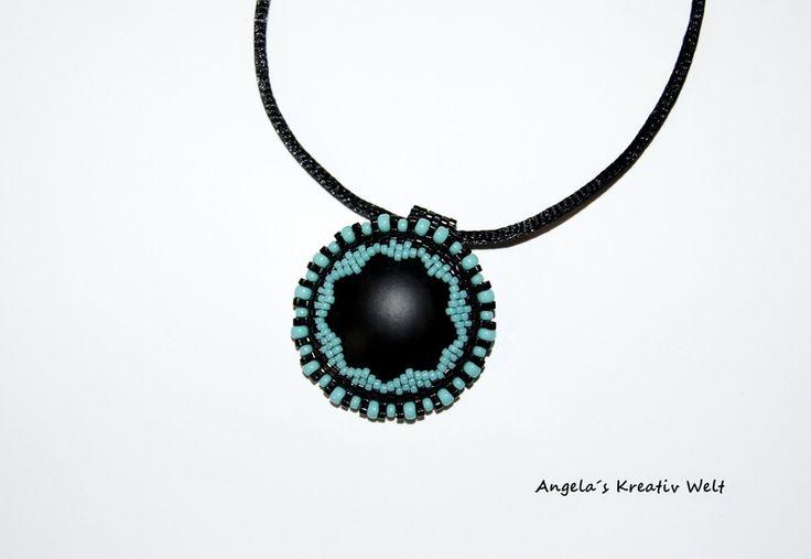 """Halskette """"Türkis - Schwarz"""" von Angela`s Kreativ Welt auf DaWanda.com"""