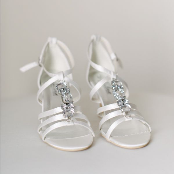 Crystal Sandal Heel Wedding Shoes by Pearl & Ivory ®  - Find more elegant wedding shoes from our collection www.pearlandivory.com/bridal-shoes.html. Photography by Yolande Marx #PearlandIvory #WeddingShoes #Crystals #SandalHeels #BridalShoes