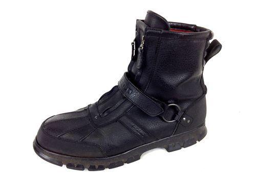 Ralph Lauren Boots Leather Black Conquest Zip Up Velcro Work Polo Mens