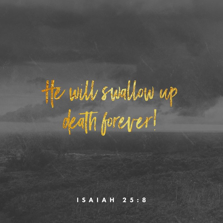 He will swallow up death forever! The Sovereign Lord will wipe away all tears. He will remove forever all insults and mockery against his land and people. The Lord has spoken!