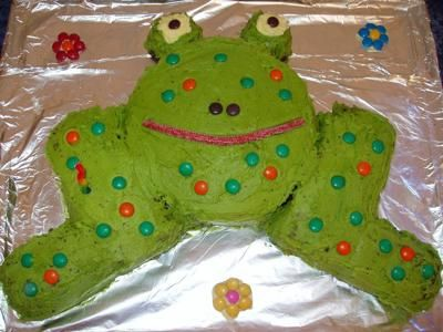 Frog Cake: Homemade Frog Cake This Frog Cake was a really easy idea I got from a friend - but be warned, it is an awful lot of cake so invite lots of people! I made