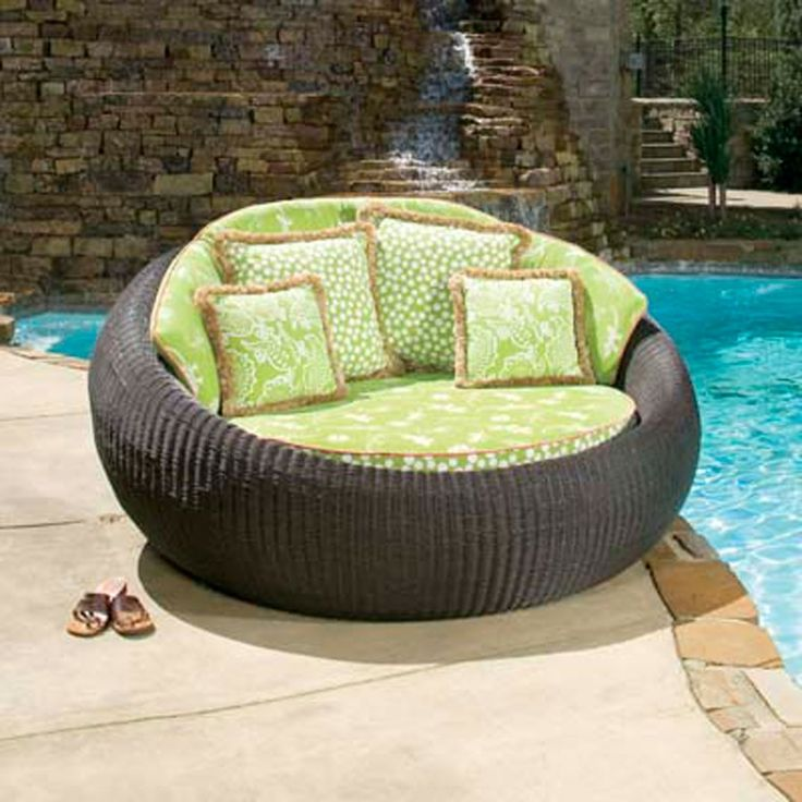 Outdoor Round Double Patio Chaise Lounge Chair