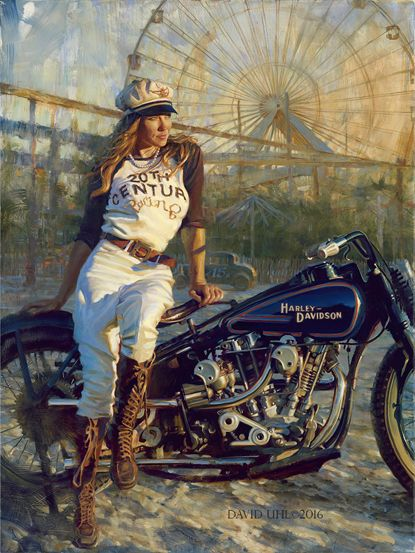 """Brittney Olsen is a true Woman of Harley. An antique motorcycle racer, she recently ran this 1928 custom Harley at The Race of Gentlemen in Wildwood, NJ. David attended the event, taking several photos. This masterpiece displays David's preferred painting style, focusing on the objects in the foreground, while leaving the background loose and atmospheric. Showing his mastery of light and shadow, """"Brittney is a very """"painterly"""" piece, which leaves certain things to the imagination."""