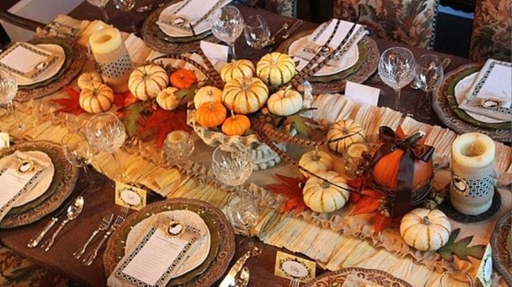 fall table decorations - Google Search. I'm going to make something very similar to this for my table when I have my Autumn Equinox dinner party.