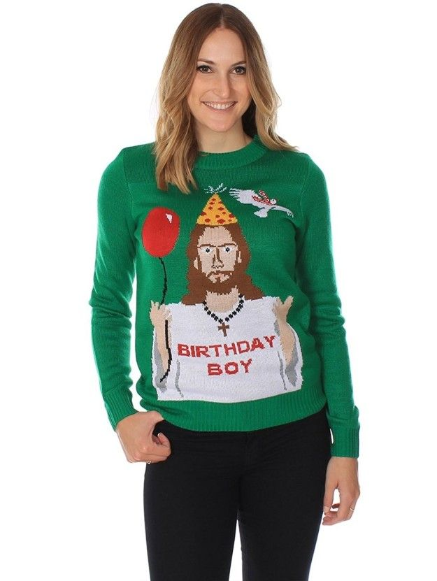A sweater that gives it up for the guy who made it all possible.   33 Of The Best Ugly Christmas Sweaters You Can Get On Amazon