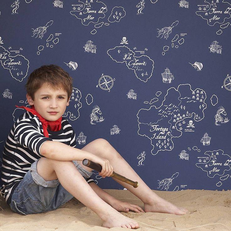 pirate adventures children's wallpaper by nubie modern kids boutique | notonthehighstreet.com