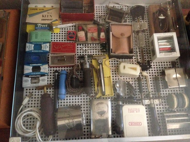 From my barbershop collection.  Antique razors, blade sharpeners and various shaving accessories.