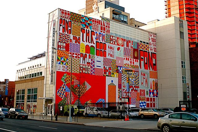 San Francisco street artist Barry McGee recently painted this dazzling 96 by 67 foot mural on the side of the Mark Morris Dance Center in Brooklyn.