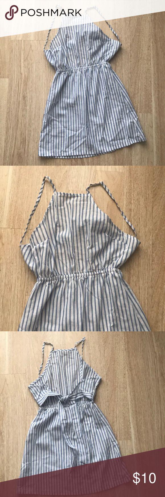 RomWe mini open back blue striped dress Light sun/beach dress. Size is XS. Recommended for small petite ladies. ROMWE Dresses Mini
