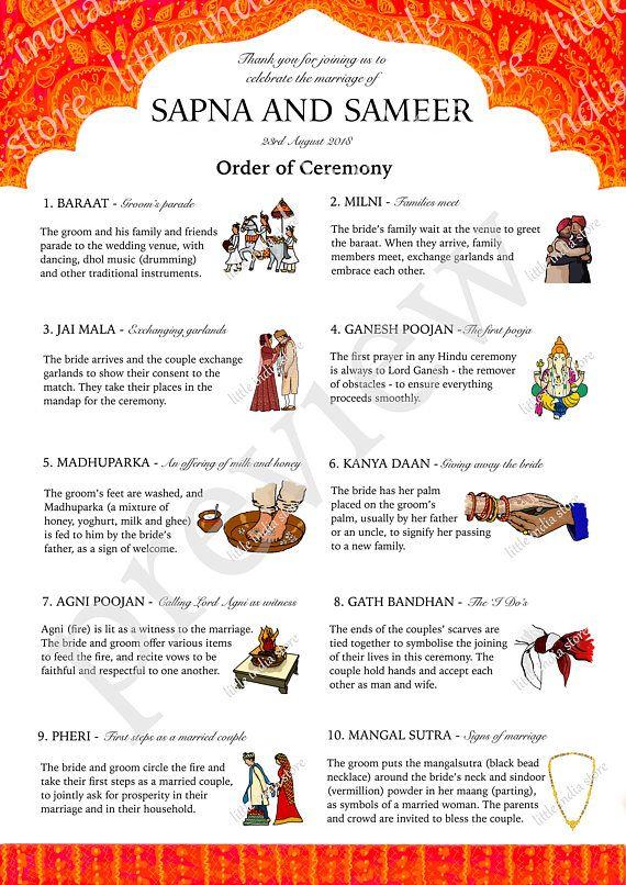 indian hindu wedding marriage order of ceremony program wedding