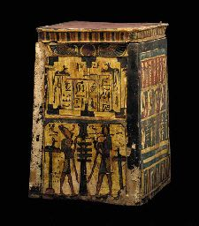 AN EGYPTIAN PAINTED WOOD CANOPIC BOX  LATE PERIOD TO PTOLEMAIC PERIOD, 664-30 B.C.